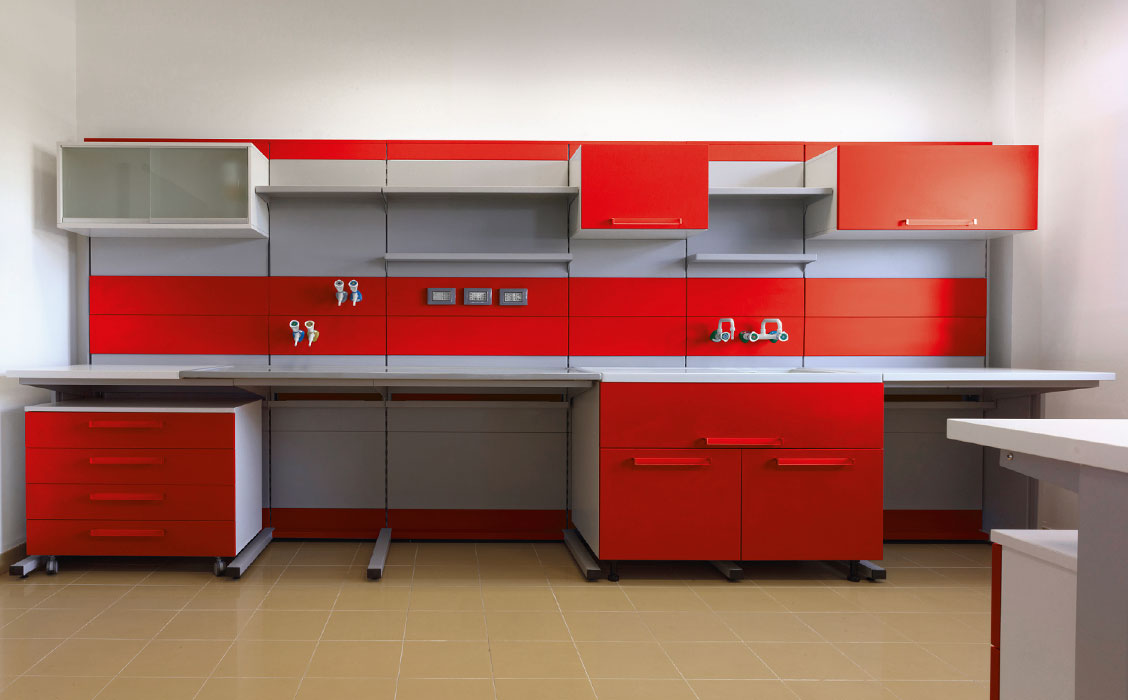 Laboratory  complete furniture red color
